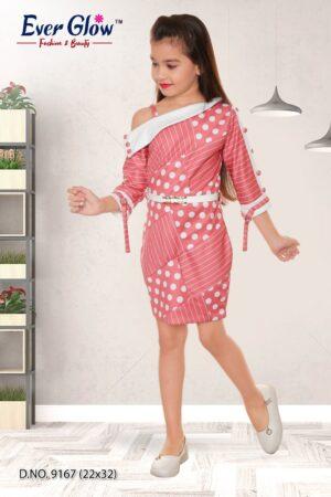 Pink Polka Dot Off-Shoulder Dress