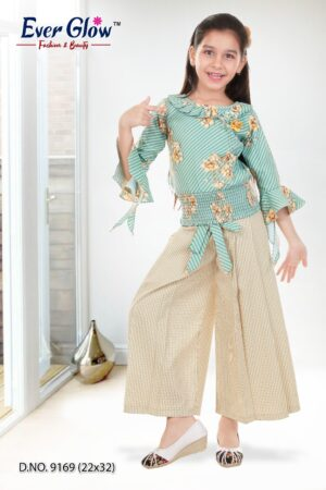 Green Bell Sleeved Top & Palazzo Set