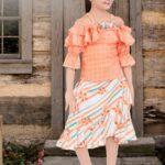 Orange Ruffle Off-Shoulder Top & Skirt Set