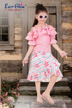 Pink Ruffled Off-Shoulder Top & Skirt Set