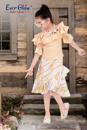 Yellow Ruffle Off-Shoulder Top & Skirt Set