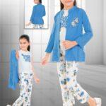 Blue Floral Three-Piece Suit