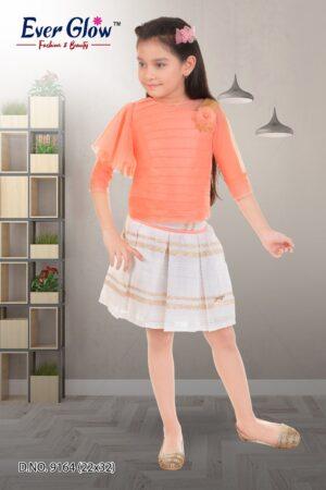 Orange Fit Top & Skirt Set