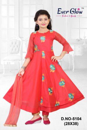 Red Bell Sleeved Anarkali Suit