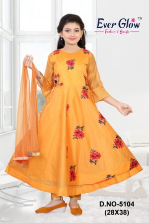 Yellow Bell Sleeved Anarkali Suit