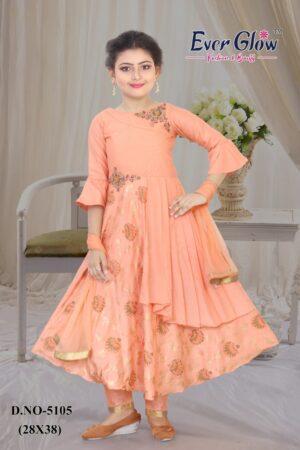 Peach Tailored Anarkali Suit Set