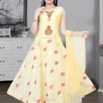 Yellow Layered Gown Set