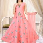 Peach Pink Layered Gown Set