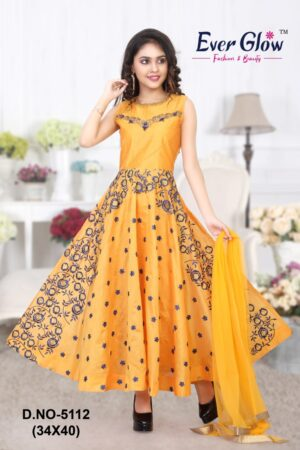 Yellow Embroidered Anarkali Suit