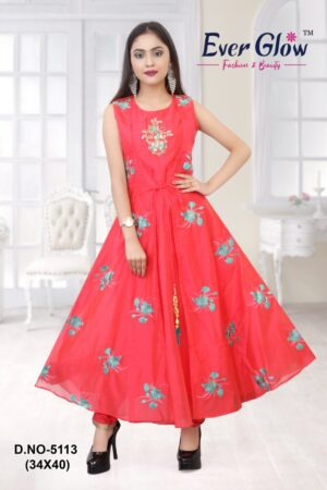 Red Angrakha Anarkali Suit