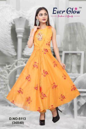 Yellow Angrakha Anarkali Suit